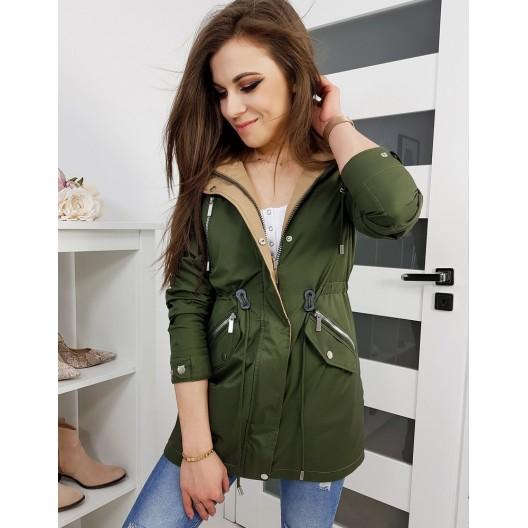 Zelená dámska jarná bunda s kapucňou v klasickom strihu