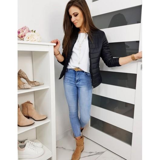 Trendová dámska jarná bunda bez kapucne čiernej farby