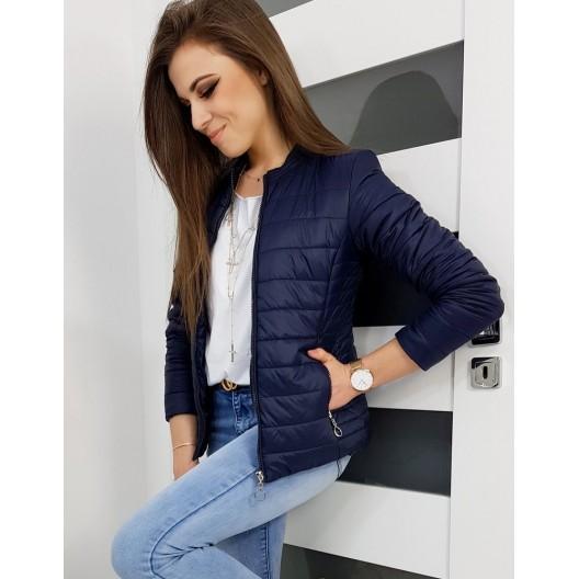 Tmavo modrá dámska prechodná bunda s elegantným prešívaním