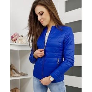 Štýlová modrá prešívaná bunda na jar bez kapucne