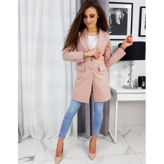 Ružový dámsky kabát na jar so zapínaním na gombíky