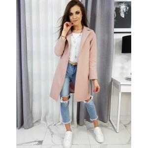 Jednoduchý dámsky kabát rovného strihu ružovej farby