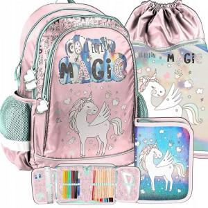Ružová školská taška s motívom pegasa