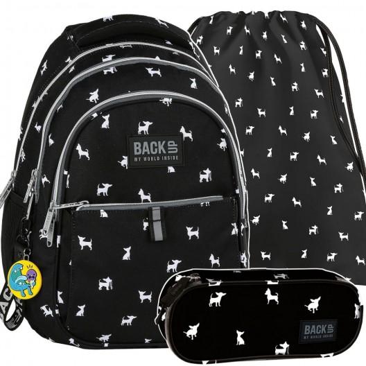 Čierna školská taška pre dievčatá