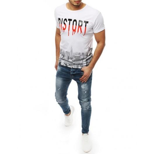 Biele trendové tričko s originálnou potlačou a okrúhlym výstrihom
