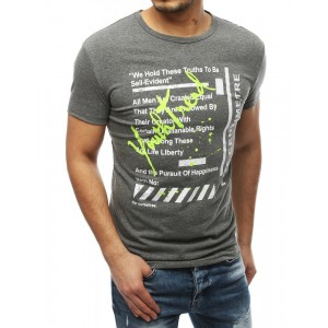 Sivé letné pánske tričko s okrúhlym výstrihom
