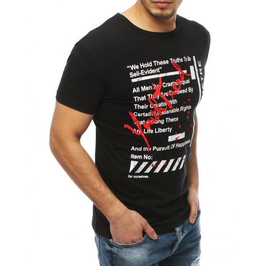 Trendové čierne tričko s potlačou na prednej strane