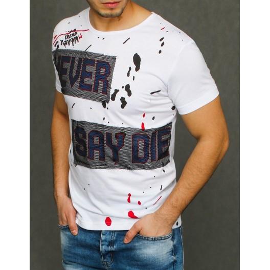 Biele letné tričko s krátkym rukávom pre pánov