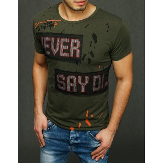 Zelené pánske tričko s nápisom na prednej strane