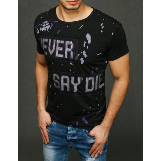 Moderné pánske tričko s nápisom čiernej farby