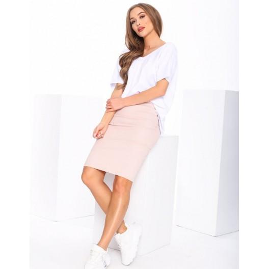 Dámska ceruzková sukňa v ružovej farbe