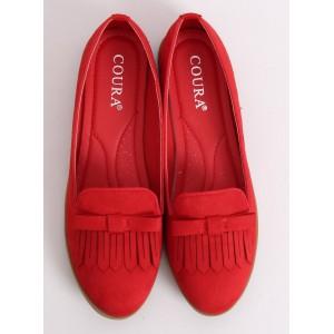 Dámske červené mokasíny s ozdobnými strapcami