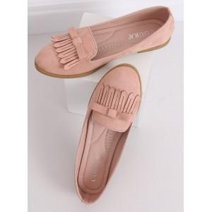 Trendy dámske ružové mokasíny so strapcami