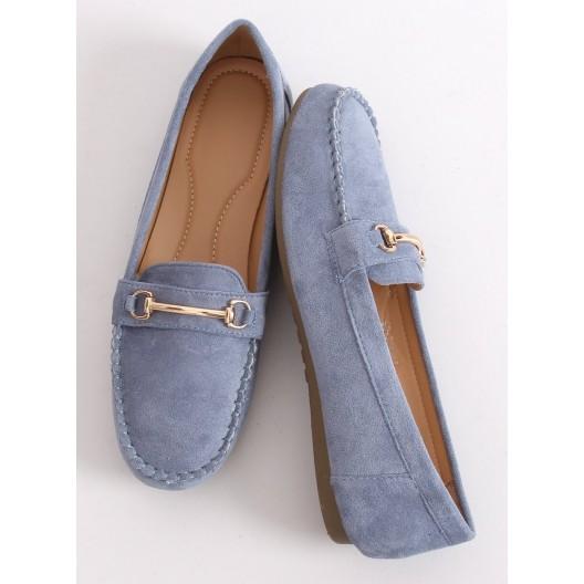Krásne modré dámske mokasíny s ozdobnou prackou a prešívaním