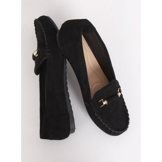 Elegantné dámske čierne semišové mokasíny
