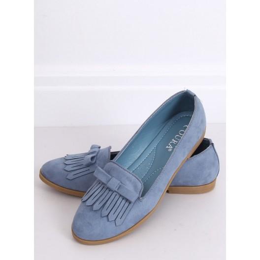 Modré dámske mokasíny so strapcami