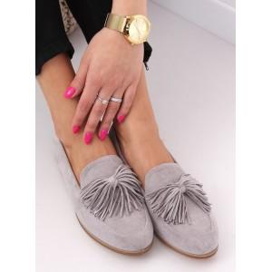 Štýlové dámske sivé mokasíny s módnymi ozdobnými strapcami