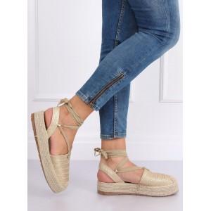 Krásne zlaté dámske espadrilky s viazaním okolo nohy