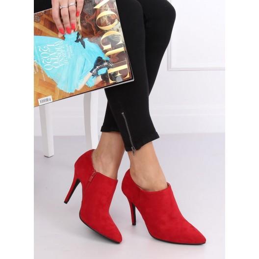 Červené dámske kotníkové topánky na vysokom opätku