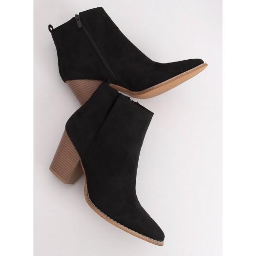 Čierne dámske kotníkové čižmy na módnom opätku