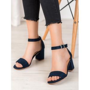 Modré dámske semišové sandále na leto
