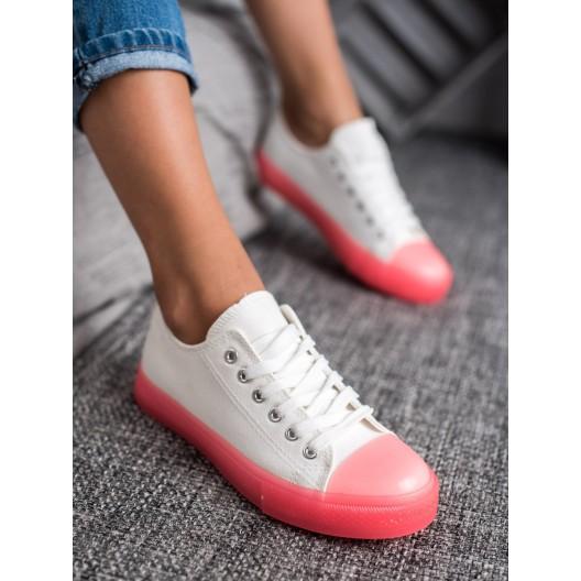 Biele dámske tenisky s ružovou podrážkou