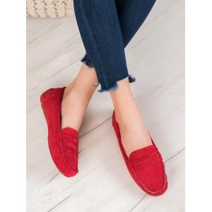 Letné dámske mokasíny v červenej farbe