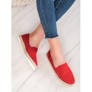 Dámske espadrilky s pletenou podrážkou v červenej farbe