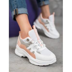 Kotníkové dámske tenisky v bielej farbe