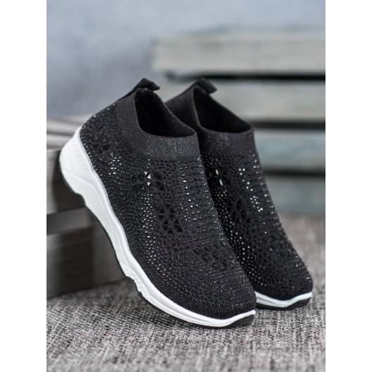 Dámska nazúvacia športová obuv zdobená kamienkami