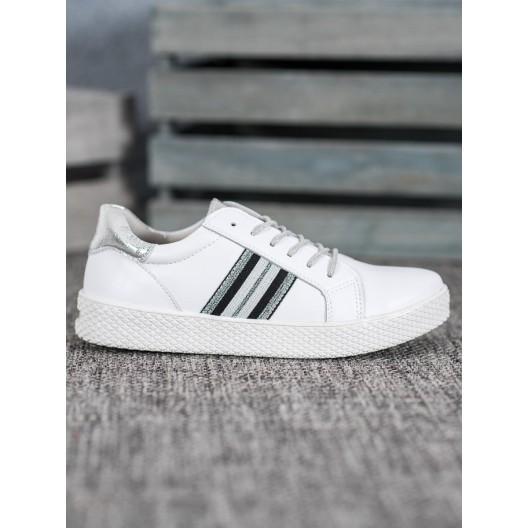 Dámska biela športová obuv so striebornými prvkami