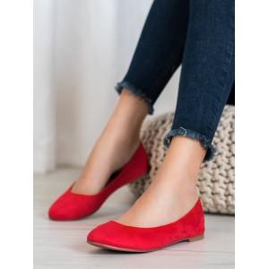 Moderné dámske balerínky v červenej farbe