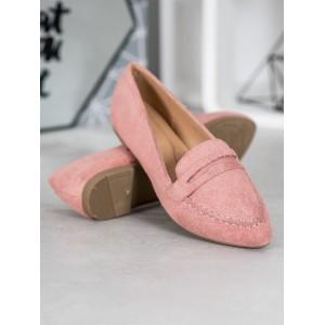 Dámske semišové mokasíny v ružovej farbe