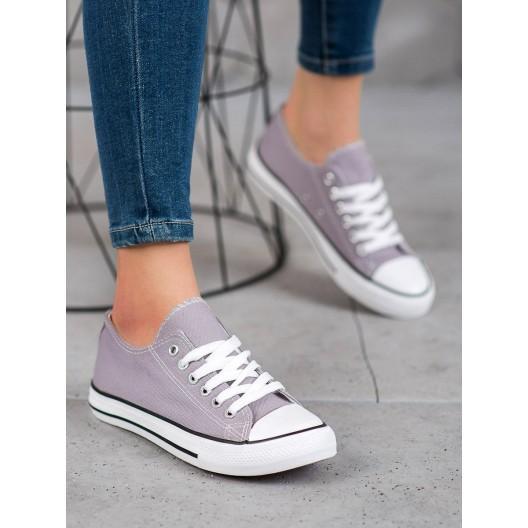 Klasické dámske textilné tenisky sivej farby