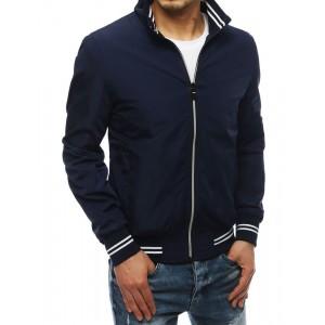 Modrá jarná bunda s vysokým golierom pre pánov
