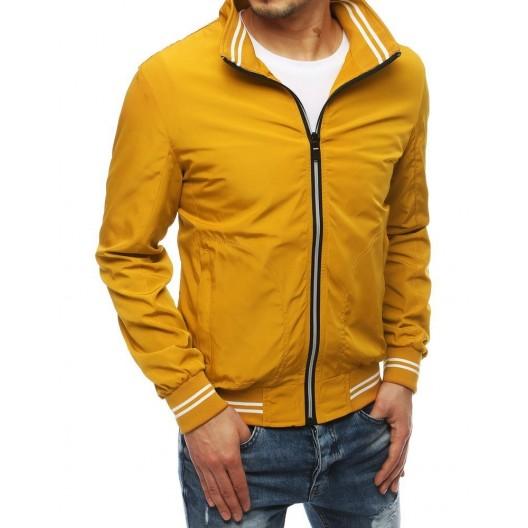 Štýlová žltá športová bunda s dvoma vonkajšími vreckami
