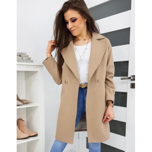 Luxusný dámsky béžový kabát so zapínaním na gombíky