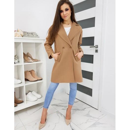 Hnedý jarný kabát v klasickom strihu pre dámy
