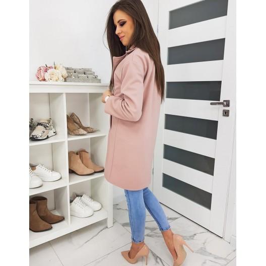Elegantný kabát so zapínaním na gombíky ružovej farby
