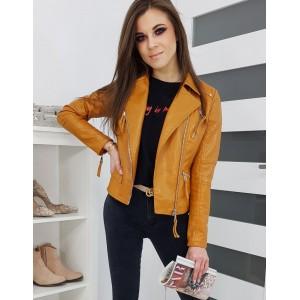 Jarná dámska kožená bunda so zapínaním na zips