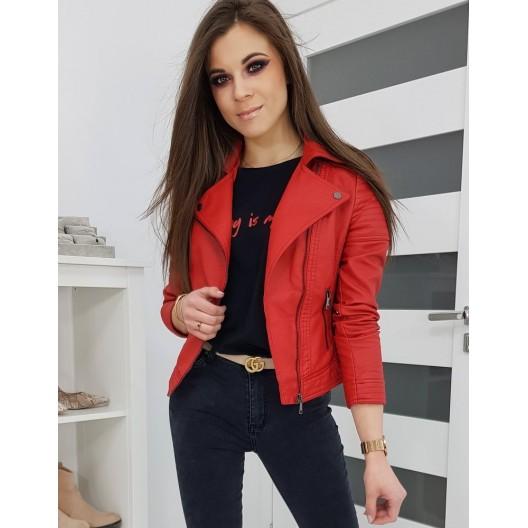 Krátka jarná kožená bunda červenej farby pre dámy