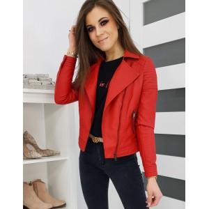 Červená dámska kožená bunda na jar