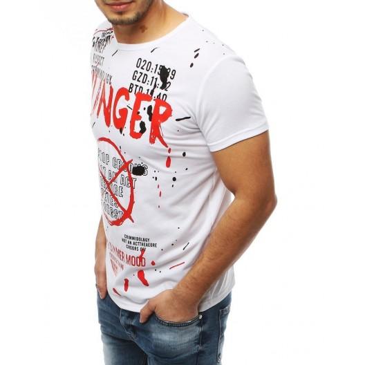 Moderné pánske biele tričko s módnou potlačou