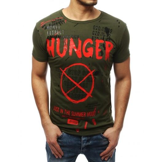 Moderné pánske zelené tričko s potlačou