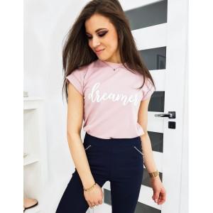 Ružové dámske tričko s krátkym rukávom
