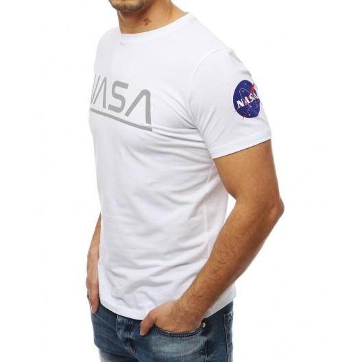 Originálne pánske biele tričko s krátkym rukávom a potlačou