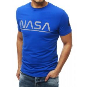 Štýlové pánske modré tričko s nápisom NASA