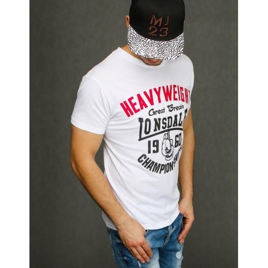 Pánske biele tričko s nápisom a krátkym rukávom
