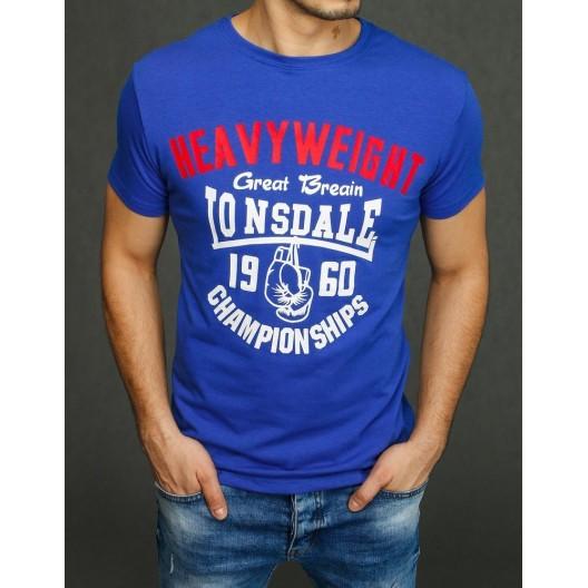 Modré letné tričko s a farebným nápisom pre pánov
