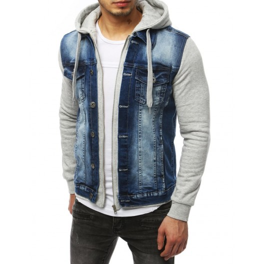 Štýlová rifľová bunda so zapínaním na zips a kapucňou